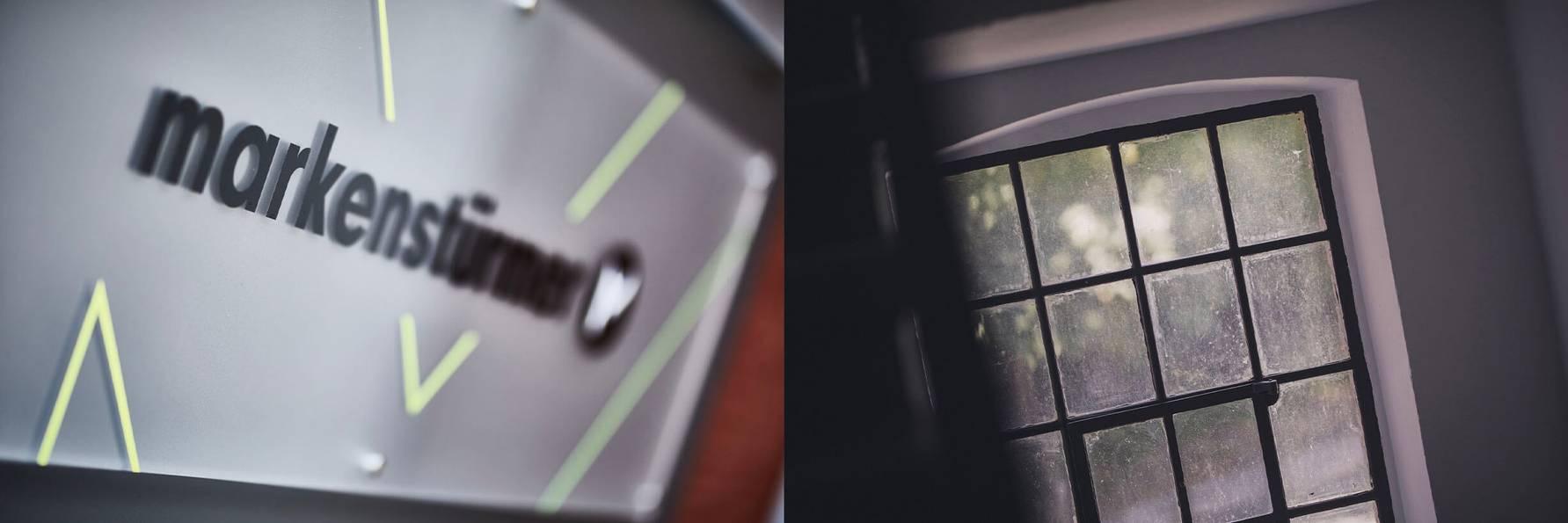Links: Firmenschild im Eingangsbereich. Rechts: Blick auf ein typisches Fabrikfenster im Treppenhaus.